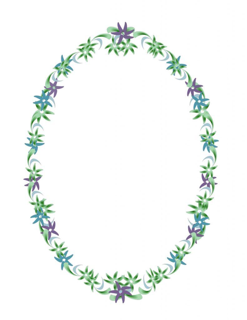 Flowers arranged in an oval shape
