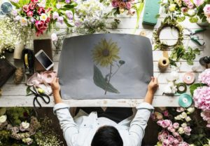 woman making flowers