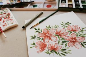 watercolor of pink flower