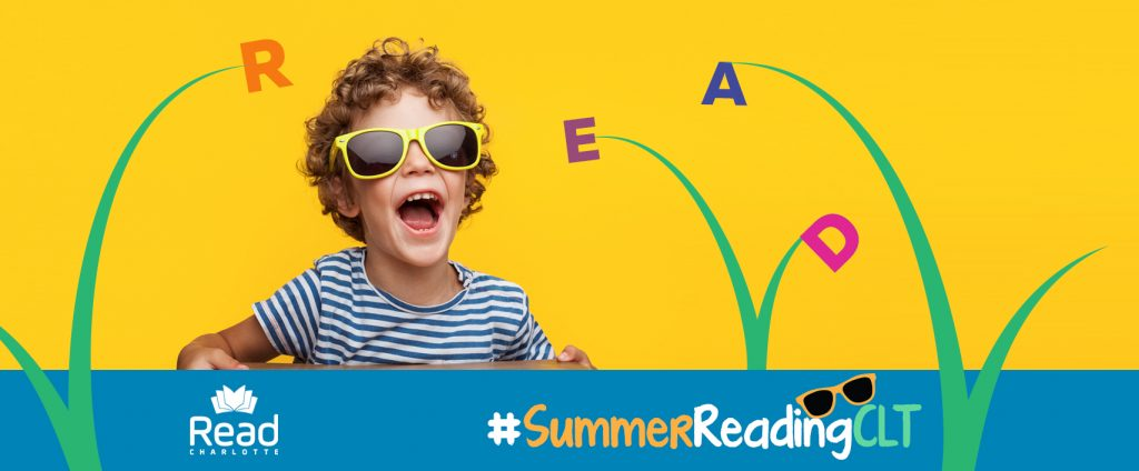 Boy in sunglasses. Read Charlotte logo, #SummerReadingCLT