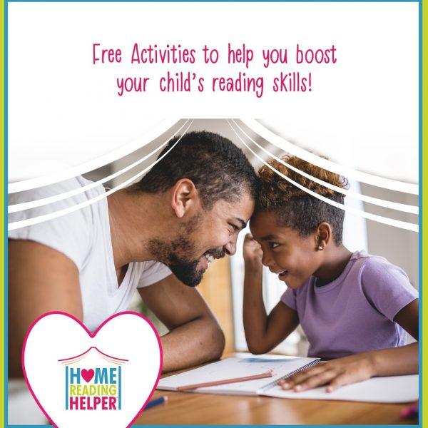 "photo of father and son at table together with words, ""free activities to help you boost your child's reading skills!"""
