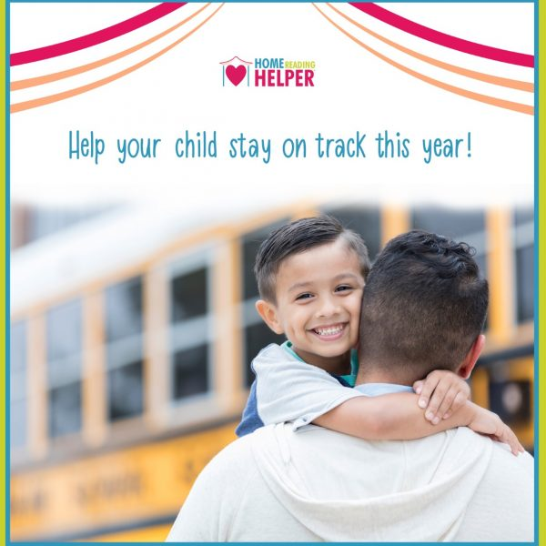 "father carrying son to a school bus with words, ""help your child stay on track this year!"""