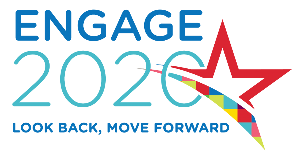 "Engage2020 Logo: ""Look Back, Move Forward"""